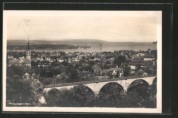 AK Emmishofen, Ortsansicht mit Eisenbahnviadukt