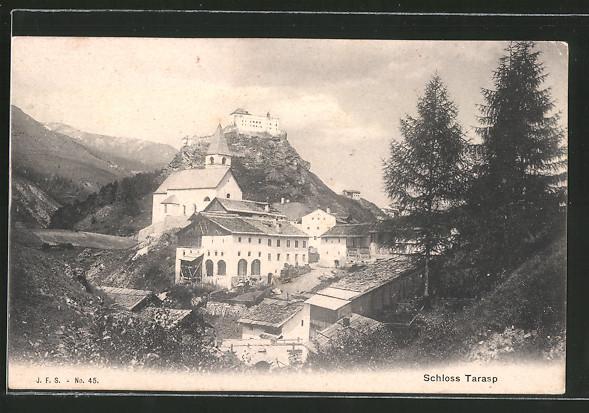 AK Tarasp, Ortsansicht mit Blick zum Schloss Tarasp