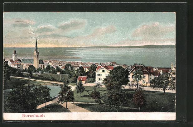 AK Rorschach, Ortsansicht mit Kirche