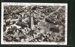 AK Groningen, Groote Markt, Stadhuis en Martinikerk