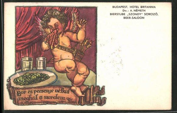 AK Budapest, Hotel Britannia, Bierstube Szondy, Theresien-Ring, ein Engel schneuzt sich
