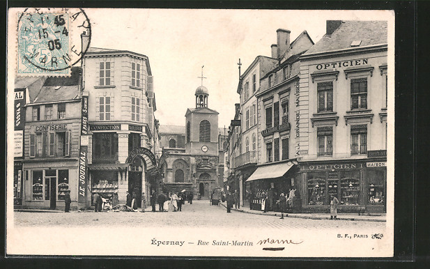 AK Épernay, Rue Saint-Martin mit Geschäften