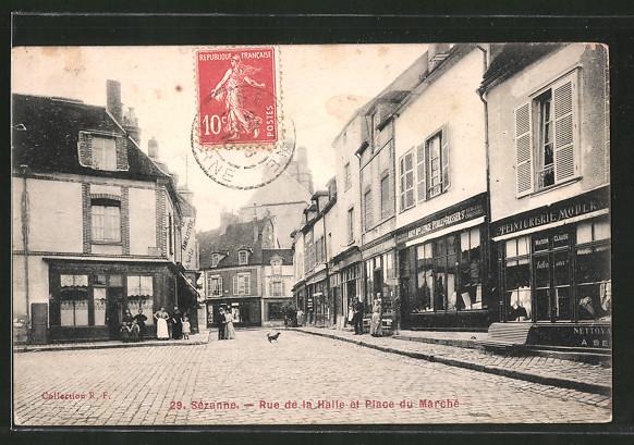 AK Sézanne, Rue de la halle et place du marché
