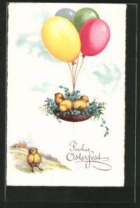 AK Küken im Korb fliegen mit Ballons davon, Frohes Osterfest