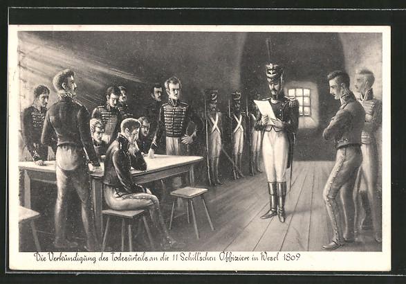 AK Wesel, Verkündigung des Todesurteils an die 11 Schill'schen Offiziere 1809, Befreiungskriege