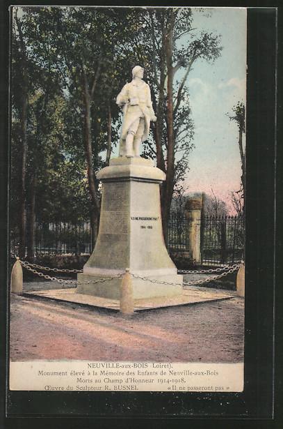 AK Neuville-aux-Bois, monument élevé á la mémoire des enfants