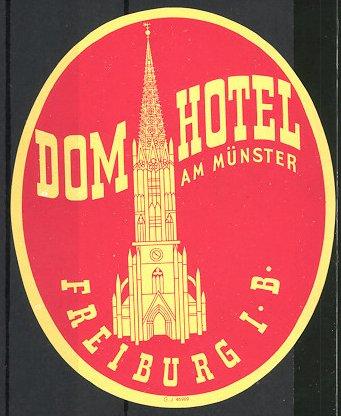 Kofferaufkleber Freiburg, Dom Hotel am Münster, der Münster zu Freiburg
