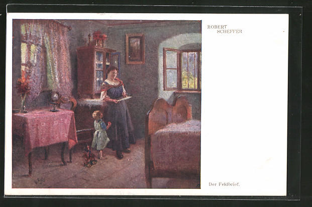 Künstler-AK Robert Scheffer: Der Feldbrief, Post von der Front