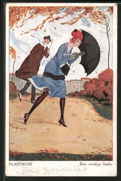 Künstler-AK Plantikow: junger Herr folgt einer schönen Frau mit Schirm durch den Sturm