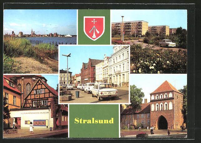 AK Stralsund, Leninplatz, Friedrich-Wolff-Strasse, Kulturhistorisches Museum, Kniepertor, Hafen