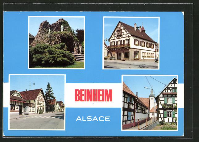 AK Beinheim, monument aux morts et la grotte, la mairie, rue Principale, rue de l'Eglise
