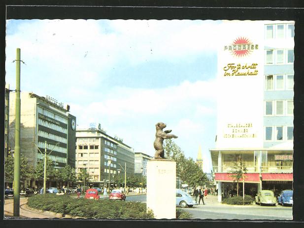 AK Düsseldorf, Berliner Allee mit Berliner Bären