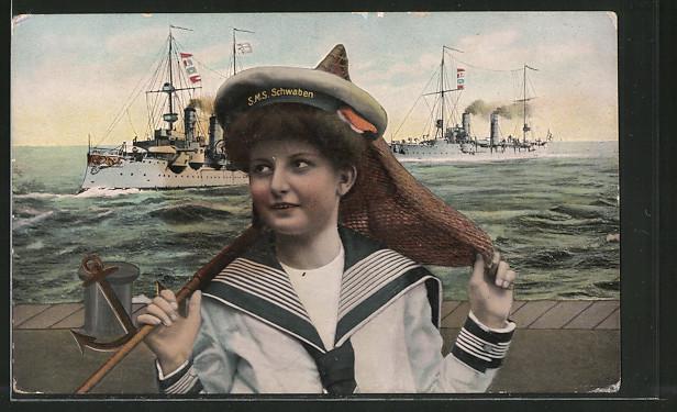 AK schöne Frau in Matrosenuniform mit Mützenband SMS Schwaben, Kriegsschiffe