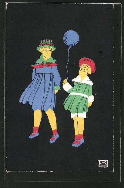 Künstler-AK Hilde Kallenbach: Mädchen mit Luftballon