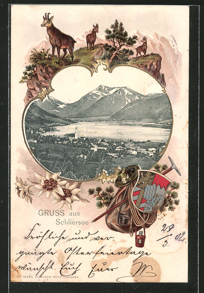 Passepartout-Lithographie Schliersee, Ortsansicht aus der Vogelschau, Wappen