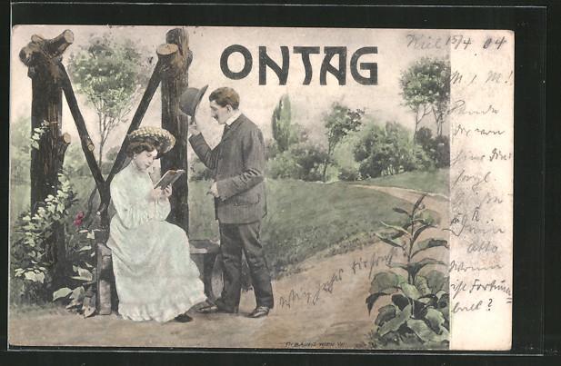 AK Allegorie zum Montag mit einer Frau die auf einer Bank ein Buch liest und von einem Mann begrüsst wird