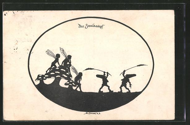 Künstler-AK Elsbeth Forck: Schattenbilder, Aus dem Gnomen und Elfenreich, Der Zweikampf