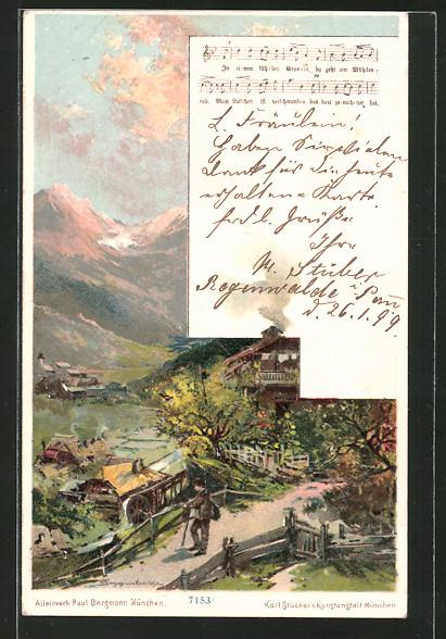 Künstler-Lithographie Theodor Guggenberger: In einem kühlen Grunde, Alpenidyll
