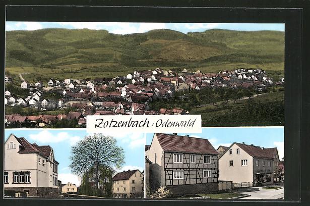 AK Zotzenbach, Ortsansicht mit Bergpanorama, Ortsansicht, Strassenpartie