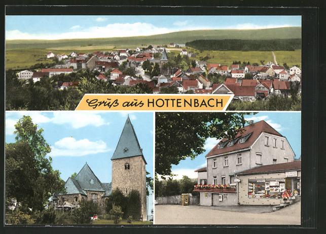 AK Hottenbach, Kirche, Geschäft, Ortsansicht