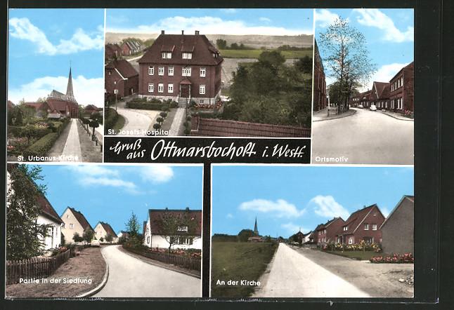 AK Ottmarsbocholt, St. Josefs-Hospital, St. Urbanus-Kirche, Strassenpartie