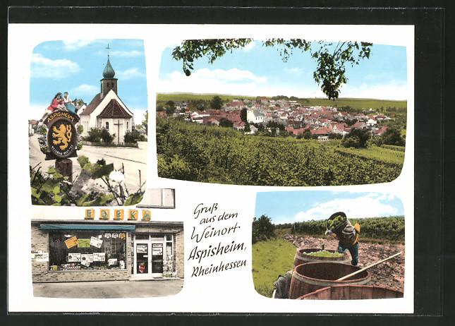 AK Aspisheim, Edeka-Geschäft Rudolph, Kirche, Ortsansicht, Weinernte