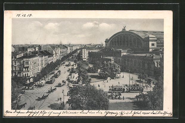 AK Berlin-Kreuzberg, Königgrätzer Strasse und Anhalter Bahnhof