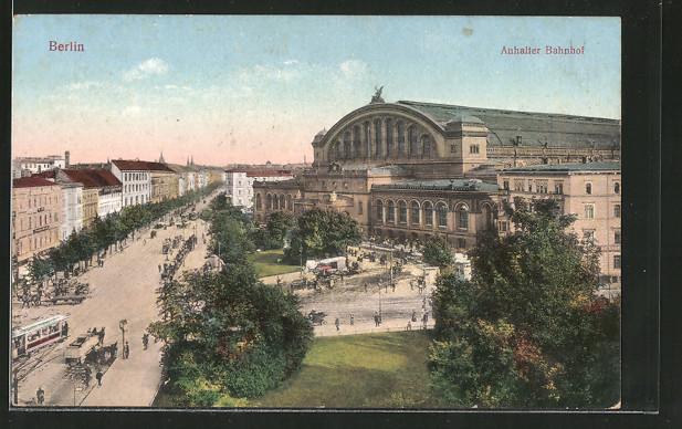AK Berlin-Kreuzberg, Königgrätzer Strasse, Askanischer Platz und Anhalter Bahnhof, Strassenbahn