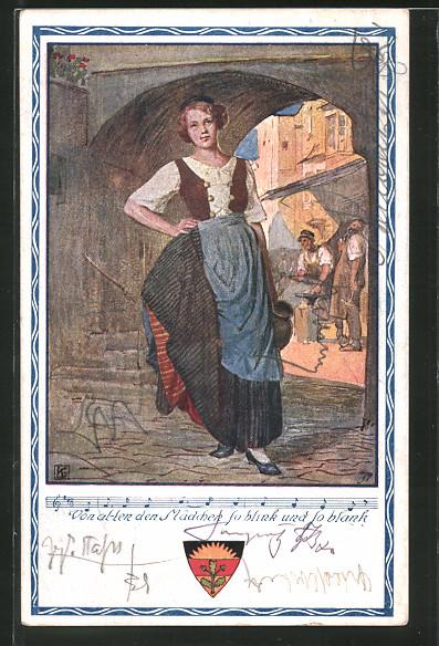 AK Deutscher Schulverein NR 372: schöne junge Frau steht in einer Gasse
