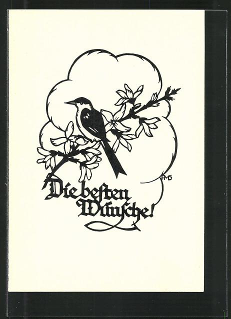 Künstler-AK Die besten Wünsche, Vogel sitzt auf einem Blütenast, Scherenschnitt