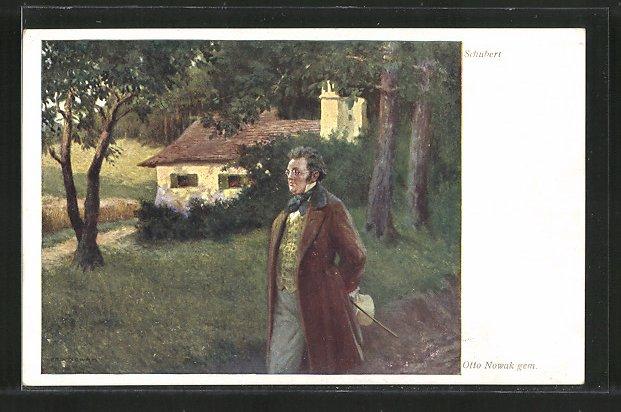 Künstler-AK Komponist Franz Schubert geht spazieren