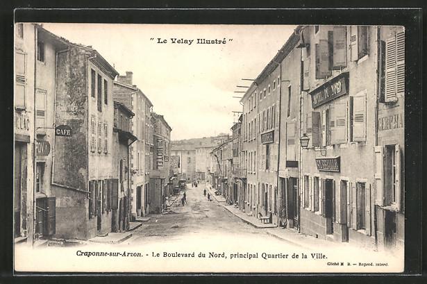 AK Craponne sur Arzon, Le Boulevard du Nord, Principal quartier de la ville