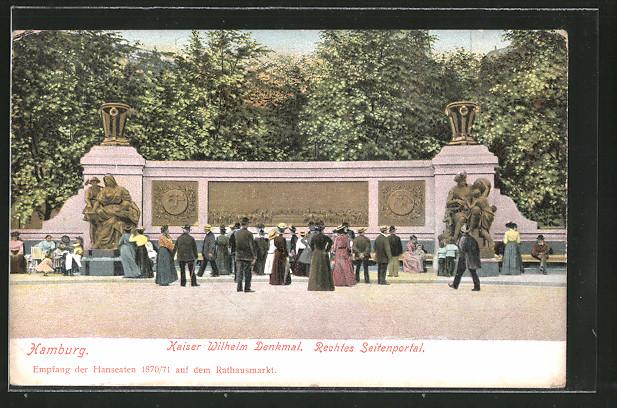 AK Hamburg, Rechtes Seitenportal des Kaiser Wilhelm-Denkmals am Rathausmarkt