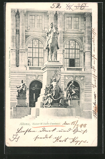 AK Hamburg-Altona, Ansicht des Kaiser Wilhelm-Denkmals