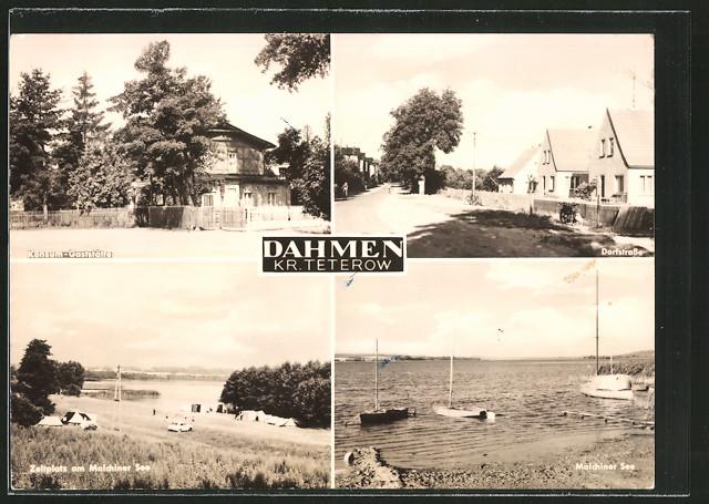 AK Dahmen, Konsum-Gaststätte, Zeltplatz am Malchiner See und Dorfstrasse