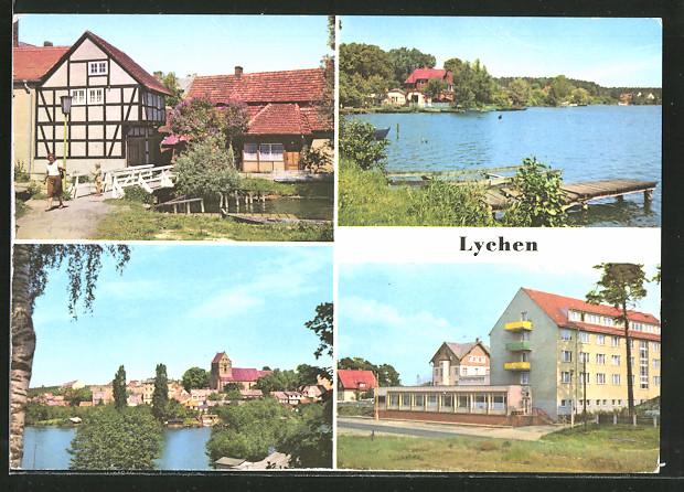 AK Lychen, Malerwinkel, Oberpfuhlsee, Stadtsee und FDGB-Erholungsheim