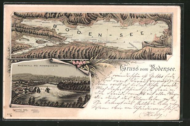 Lithographie Schaffhausen, Rheinfall bei Mondschein, Landkarte des Bodensees mit Umgebung