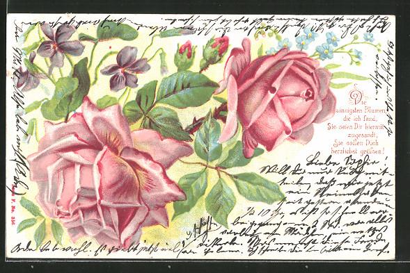 Lithographie rote Rosen mit Veilchen und Vergissmeinnicht