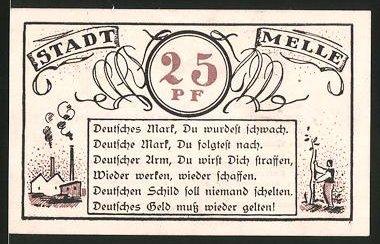 Notgeld Mallmitz 1921 25 Pfennig Fabrikgebäude Hilfskreuzer