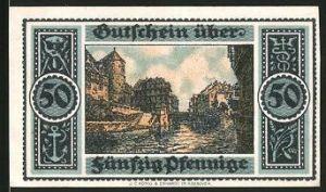 Notgeld Hannover 1921, 50 Pfennig, Partie am Fluss mit Gebäudeansicht
