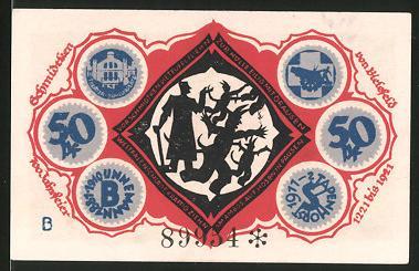 Notgeld Bielefeld 1921, 50 Pfennig, Teufel flüchtet vor dem Schmied