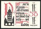 Notgeld L�beck 1921, 50 Pfennig, Ortspartie, Ortswappen