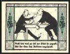 Notgeld M�lsen-St. Jakob 1921, 50 Pfennig, 2 M�nner am Tisch mit Bierkrug pr�geln sich