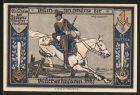 Notgeld Stolp, 1 Mark, B�chsensch�tze der Bl�cherhusaren auf Pferd, Skelett mit Sanduhr & Sense
