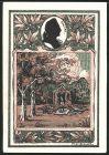 Notgeld Tiefurt 1921, 50 Pfennig, Ortswappen, Pavillon, Goethe