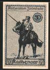 Notgeld Rathenow, 50 Pfennig, Ortsansicht, Reiter mit Lanze