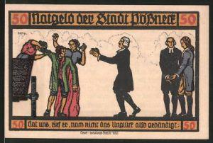 Notgeld Pössneck 1921, 50 Pfennig, Rathaus, Frau wird von Wagen gehoben und überreicht