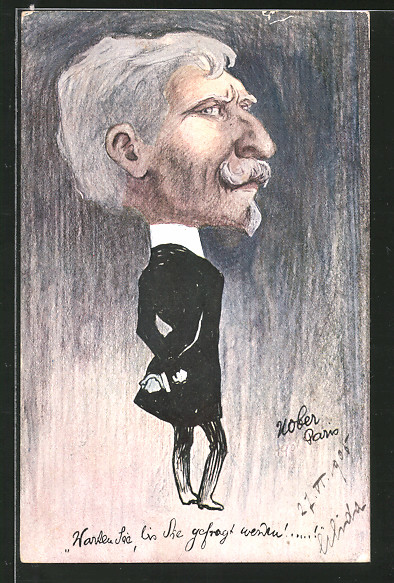 Künstler-AK sign. Leo Kober: Karikatur, älterer Herr im Anzug mit grossem Kopf