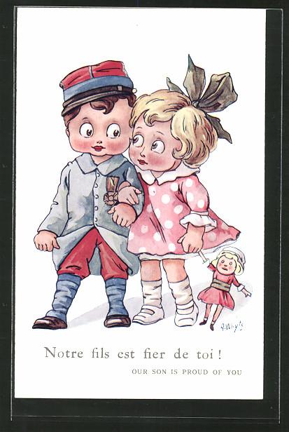 Künstler-AK A. Wuyts: Mädchen mit Puppe geht mit einem Soldaten spazieren, Kinder Kriegspropaganda
