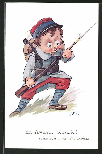 Künstler-AK A. Wuyts: Junge als Soldat im Sturmangriff, Kinder Kriegspropaganda